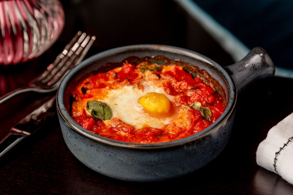 Copper House Bar Berkhamsted – Food – Baked Eggs with Chorizo and Spicy Tomato