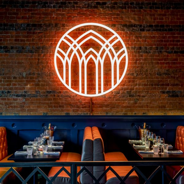 Copper House Bar Berkhamsted – Seating Area With Neon Emblem